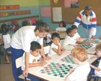 Урок шашек в бразильской школе